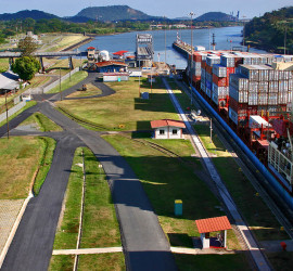 Central America, Panama, ship passing through Panama canal